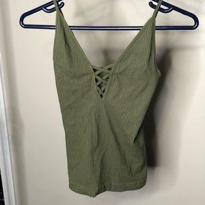 Free People Olive Green Lace V Neck Tank Top